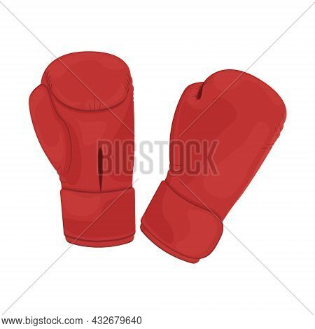 Sports Gloves For Boxing. Boxing Gloves Are Red. Sports Equipment For Martial Arts. Gloves For Boxin