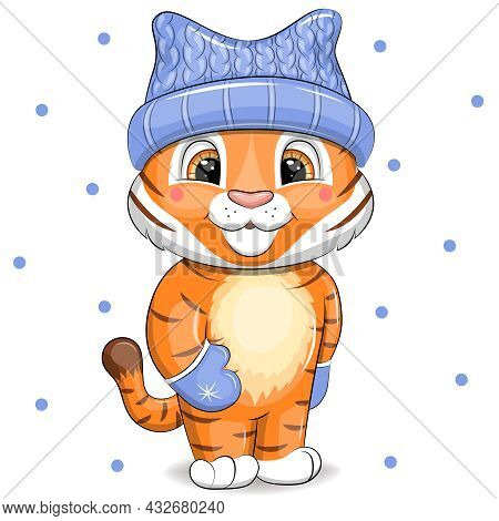 Tiger In A Blue Winter Hat And Mittens. Vector Cute Cartoon With Animal On White Background With Blu