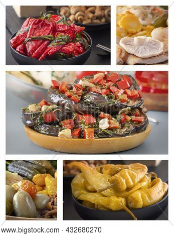 Food Collage Of Fermented Foods - Red And Yellow Peppers, Eggplants, Pickles, Tomatoes, Mushrooms. H