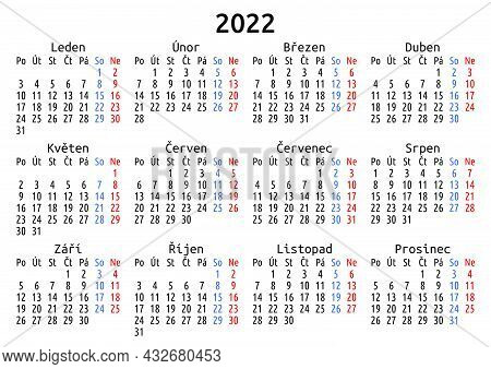 2022 Calendar, Czech. Vector Compact Annual Wall Or Planner Template For A4 Or A5 Paper Size. Simple
