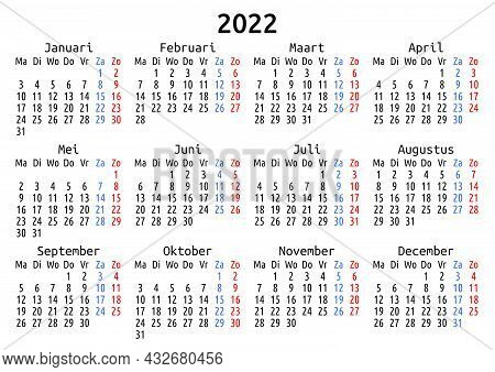 2022 Calendar, Dutch, Netherlands. Vector Compact Annual Wall Or Planner Template For A4 Or A5 Paper