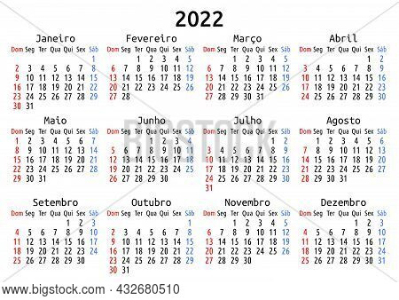 2022 Calendar, Portuguese, Brazil. Vector Compact Annual Wall Or Planner Template For A4 Or A5 Paper