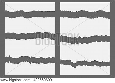 White Ripped Blank Horizontal Stripes For Text Or Message On Gray Background. Vector