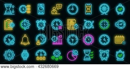 Time Management Icons Set. Outline Set Of Time Management Vector Icons Neon Color On Black
