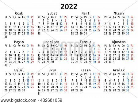 2022 Calendar, Turkish, Turkey. Vector Compact Annual Wall Or Planner Template For A4 Or A5 Paper Si