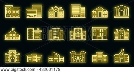 Campus Icons Set. Outline Set Of Campus Vector Icons Neon Color On Black