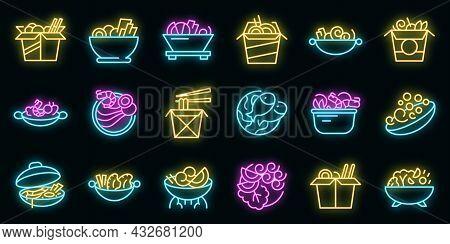 Wok Menu Icons Set. Outline Set Of Wok Menu Vector Icons Neon Color On Black