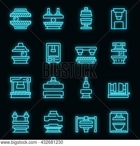 Press Form Machines Icons Set. Outline Set Of Press Form Machines Vector Icons Neon Color On Black