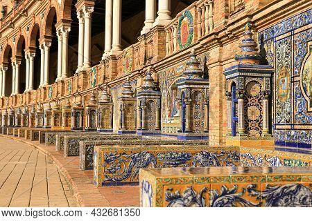 The Tiled Walls Of Plaza De Espana. Seville. Spain.