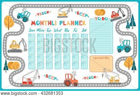 Cartoon Cute Monthly Planner. To Do List, Notes, Template Design, Important Dates. Schedule, Printin