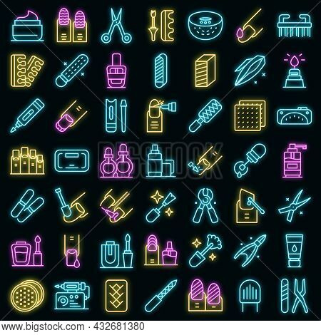Equipment For Manicure Icons Set. Outline Set Of Equipment For Manicure Vector Icons Neon Color On B