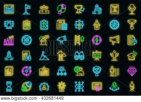 Successful Career Icons Set. Outline Set Of Successful Career Vector Icons Neon Color On Black
