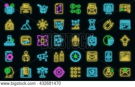 Successful Campaign Icons Set. Outline Set Of Successful Campaign Vector Icons Neon Color On Black