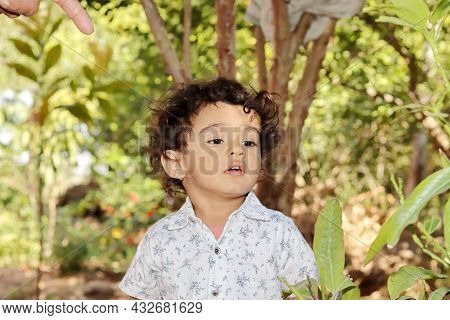 Close-up Front View Portrait Of A Small Indian Child Standing In The Garden Marveling At The Beauty