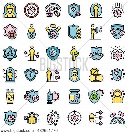 Antibiotic Resistance Icons Set. Outline Set Of Antibiotic Resistance Vector Icons Thin Line Color F