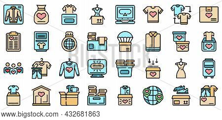 Clothes Donation Icons Set. Outline Set Of Clothes Donation Vector Icons Thin Line Color Flat Isolat