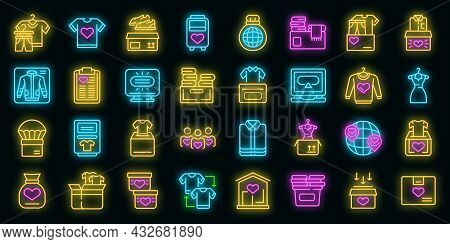 Clothes Donation Icons Set. Outline Set Of Clothes Donation Vector Icons Neon Color On Black
