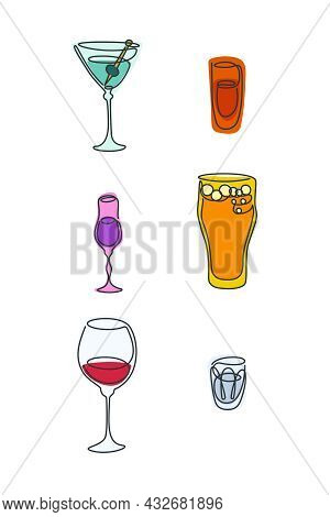 One Line Drawing Martini Rum Liquor Beer Red Wine Vodka Glass On White Background. Colored Cartoon G