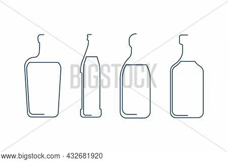 Bottle Continuous Line Tequila, Liquor, Beer, Rum Or Brandy In Linear Style On White Background. Sol