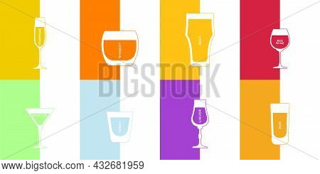 Champagne, Whiskey, Beer, Red Wine, Liquor, Rum, Vodka And Martini Glass In Minimalist Linear Style