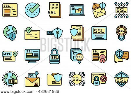 Ssl Certificate Icons Set. Outline Set Of Ssl Certificate Vector Icons Thin Line Color Flat Isolated