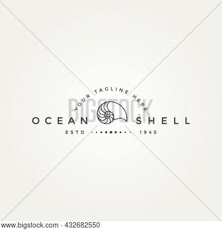 Nautilus Ocean Shell Minimalist Line Art Badge Logo Icon Template Vector Illustration Design. Simple