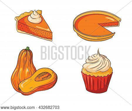 Autumn Holiday Pumpkin Dishes Collection. Thanksgiving Food Set. Fresh Ripe Pumpkins And Pumpkin Pie