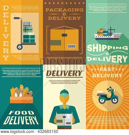 Delivery Mini Poster Set With Fast Food Packaging And Shipping Signs Isolated Vector Illustration