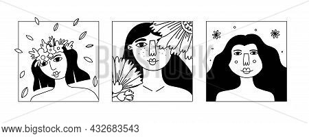 Girl Flower Line Portrait Set. Beautiful Pretty Female Face With Blossoms, Lady Smiling, Card Or Pos
