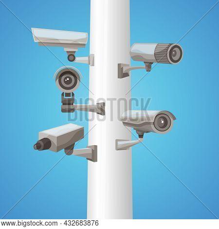 Realistic Surveillance Video Camera On Pillar On Blue Background Vector Illustration