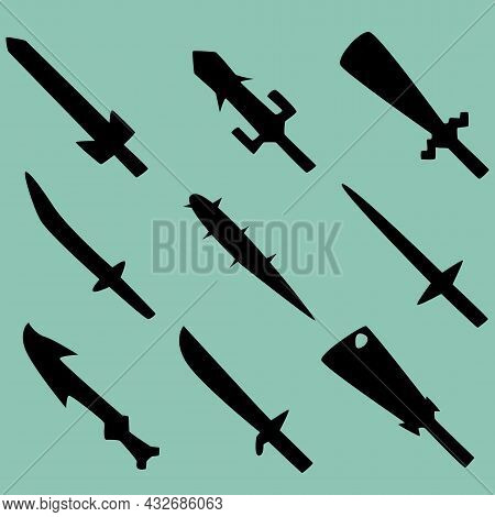 Set Of Nine Silhouettes Of Combat Swords. Image For Icons, Icons, Games, Sites And More. Vector Illu