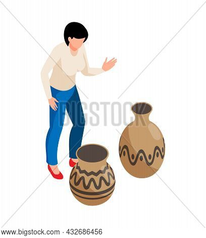 Historical Museum Isometric Icon With Female Visitor And Two Vases Vector Illustration