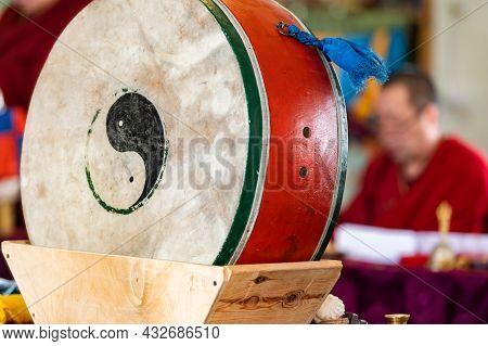 Atsagatsky Datsan Temple, Ulan Ude, Siberia, Russia - Buddhist Monks Are Reading Mantras In Dzogchen