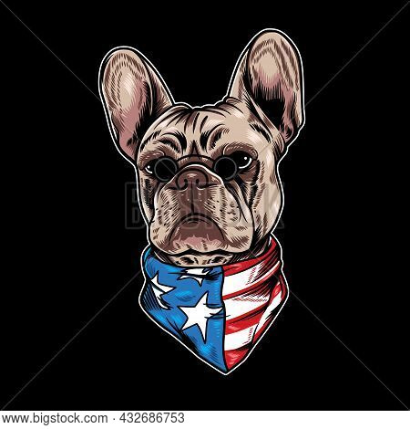 Vector Illustration Of French Bulldog With Cool American Flag Cartoon Style In Black Background. Goo