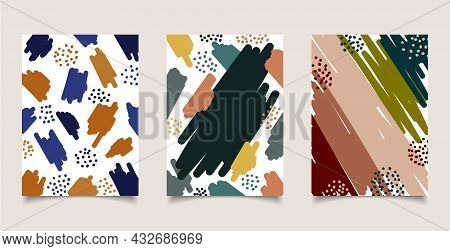 Set Of Cover Brochure Abstract Aesthetic Hand Drawn Brush Strokes, Spot Pattern On White Background.