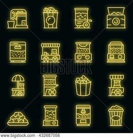 Popcorn Maker Machine Icons Set. Outline Set Of Popcorn Maker Machine Vector Icons Neon Color On Bla