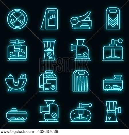 Vegetable Cutter Icons Set. Outline Set Of Vegetable Cutter Vector Icons Neon Color On Black