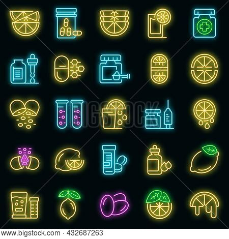 Vitamin C Icons Set. Outline Set Of Vitamin C Vector Icons Neon Color On Black
