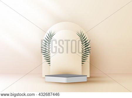 3d Realistic Elegant White Square Layers Rounded Backdrop With Tropical Palm Leaves On Beige Backgro