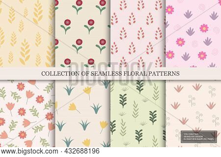 Collection Of Colorful Seamless Floral Patterns - Hand Drawn Delicate Design. Vintage Trendy Prints.