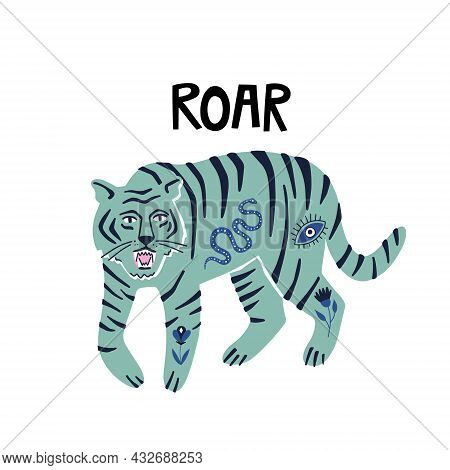 Tiger With Boho Tatoos And Roar Word. Hand Drawn Vector Illustration