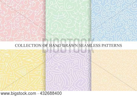 Collection Of Bright Hand Drawn Seamless Curly Patterns - Delicate Design. Vector Colorful Trendy Ba
