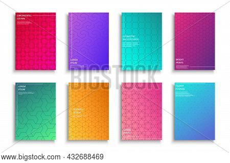 Collection Of Bright Colorful Creative Posters, Templates, Backgrounds, Placards, Brochures, Banners