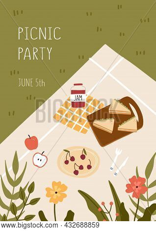 Picnic Concept. Blanket With Food And Flowers. Hand Drawn Vector Illustration