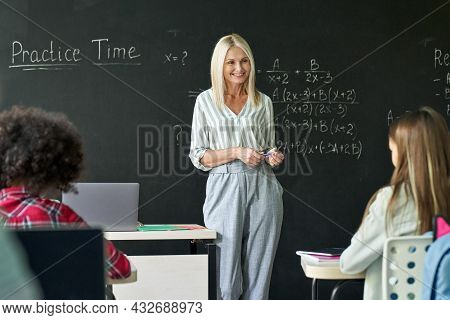 Smiling Young Blonde Teacher Talks To Class Teaching Mathematics Arithmetic To Elementary Middle Div