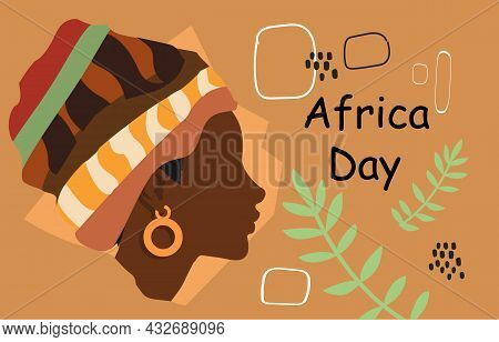 Image Of Black Woman, Africa Day. Picture For International Holiday, Tolerance. Celebrate Holidays,