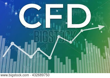 Financial Term Cfd (contract For Difference) On Blue Finance Background From Graphs, Charts, Columns