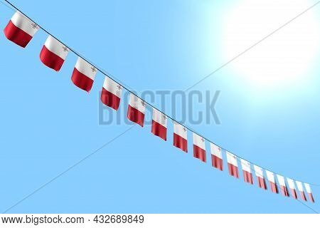 Nice Many Malta Flags Or Banners Hanging Diagonal On String On Blue Sky Background With Bokeh - Any