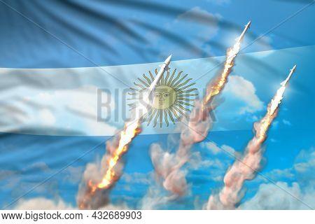 Modern Strategic Rocket Forces Concept On Blue Sky Background, Argentina Nuclear Missile Attack - Mi