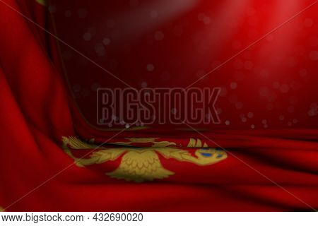 Nice Dark Photo Of Montenegro Flag Lie In Corner On Red Background With Bokeh And Free Space For You